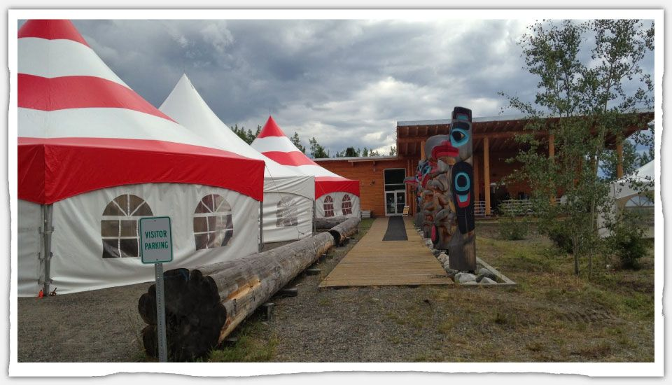 Hex tents with Totem poles